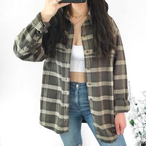 Vintage green brown and blue flannel